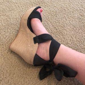 Ugg tie up wedges black size 7.5 worn once